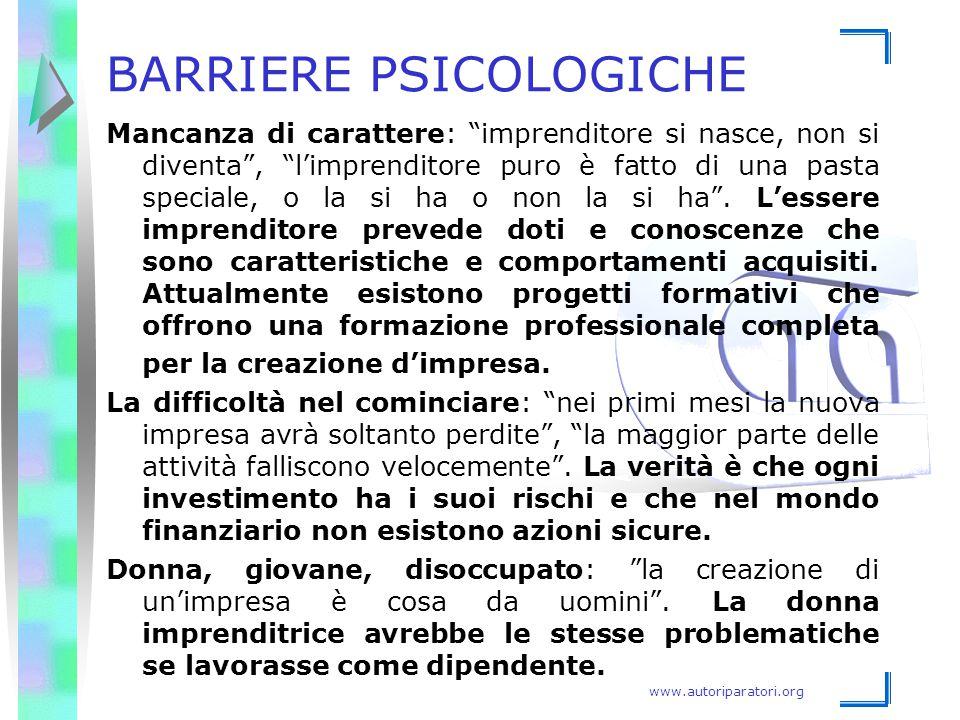 """www.autoriparatori.org BARRIERE PSICOLOGICHE Mancanza di carattere: """"imprenditore si nasce, non si diventa"""", """"l'imprenditore puro è fatto di una pasta"""
