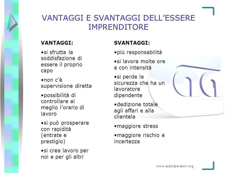www.autoriparatori.org VANTAGGI E SVANTAGGI DELL'ESSERE IMPRENDITORE VANTAGGI: si sfrutta la soddisfazione di essere il proprio capo non c'è supervisi