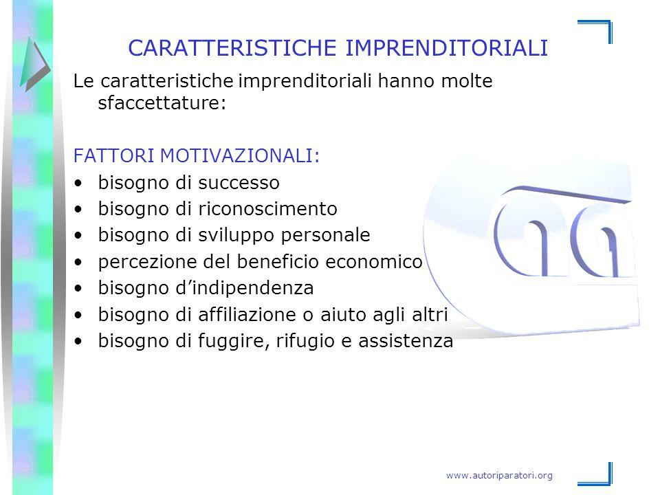www.autoriparatori.org CARATTERISTICHE IMPRENDITORIALI Le caratteristiche imprenditoriali hanno molte sfaccettature: FATTORI MOTIVAZIONALI: bisogno di