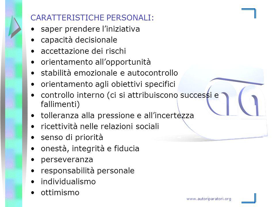 www.autoriparatori.org CARATTERISTICHE PERSONALI: saper prendere l'iniziativa capacità decisionale accettazione dei rischi orientamento all'opportunit