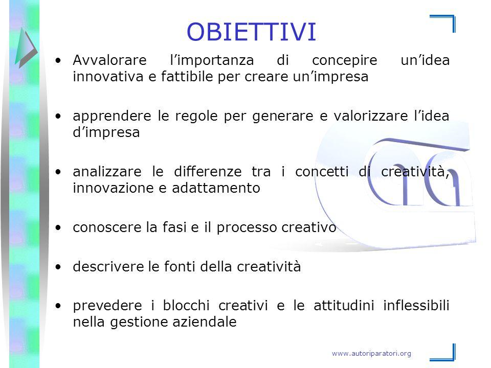 www.autoriparatori.org OBIETTIVI Avvalorare l'importanza di concepire un'idea innovativa e fattibile per creare un'impresa apprendere le regole per ge