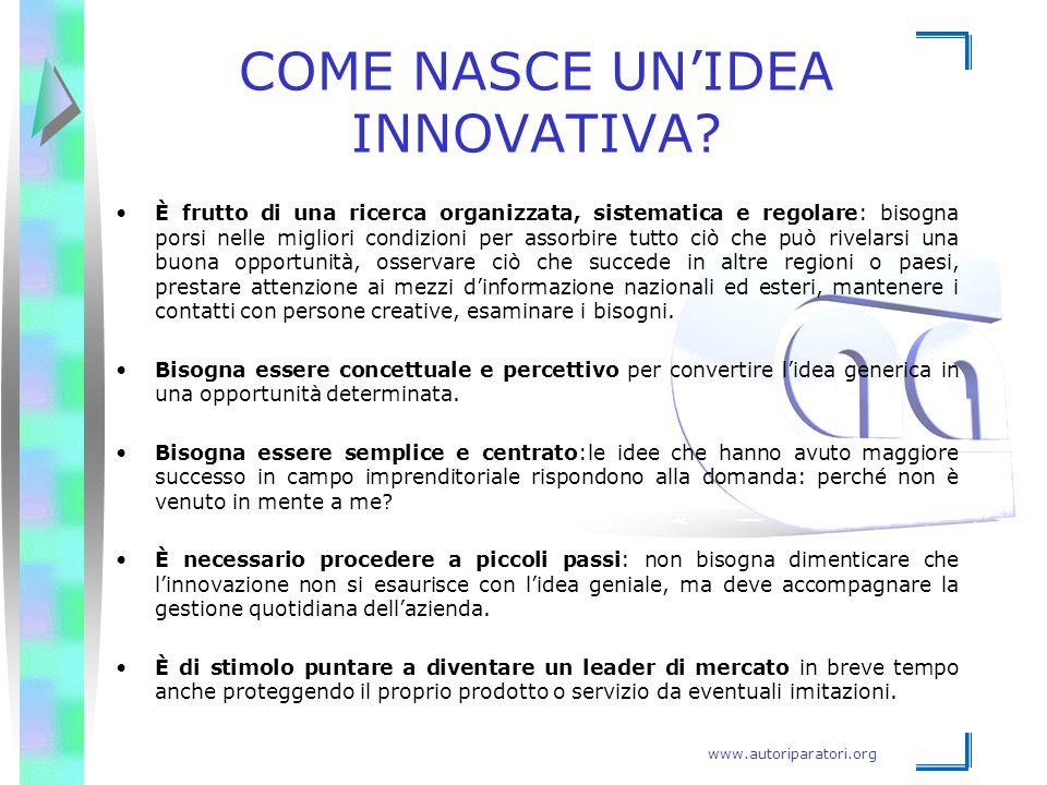 www.autoriparatori.org COME NASCE UN'IDEA INNOVATIVA? È frutto di una ricerca organizzata, sistematica e regolare: bisogna porsi nelle migliori condiz