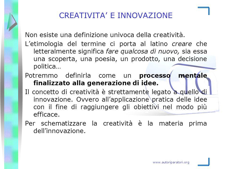 www.autoriparatori.org CREATIVITA' E INNOVAZIONE Non esiste una definizione univoca della creatività. L'etimologia del termine ci porta al latino crea