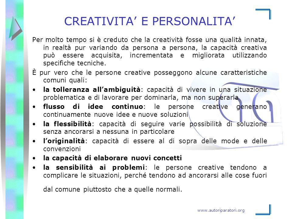 www.autoriparatori.org CREATIVITA' E PERSONALITA' Per molto tempo si è creduto che la creatività fosse una qualità innata, in realtà pur variando da p