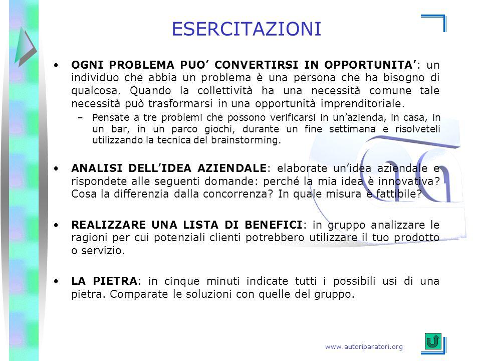 www.autoriparatori.org ESERCITAZIONI OGNI PROBLEMA PUO' CONVERTIRSI IN OPPORTUNITA': un individuo che abbia un problema è una persona che ha bisogno d