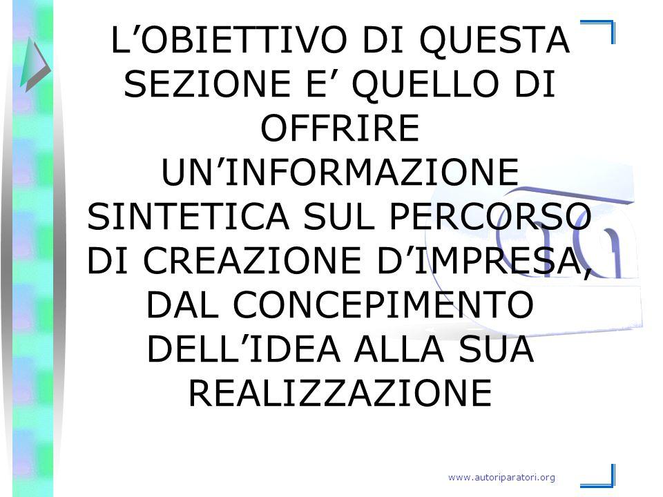 www.autoriparatori.org L'OBIETTIVO DI QUESTA SEZIONE E' QUELLO DI OFFRIRE UN'INFORMAZIONE SINTETICA SUL PERCORSO DI CREAZIONE D'IMPRESA, DAL CONCEPIME