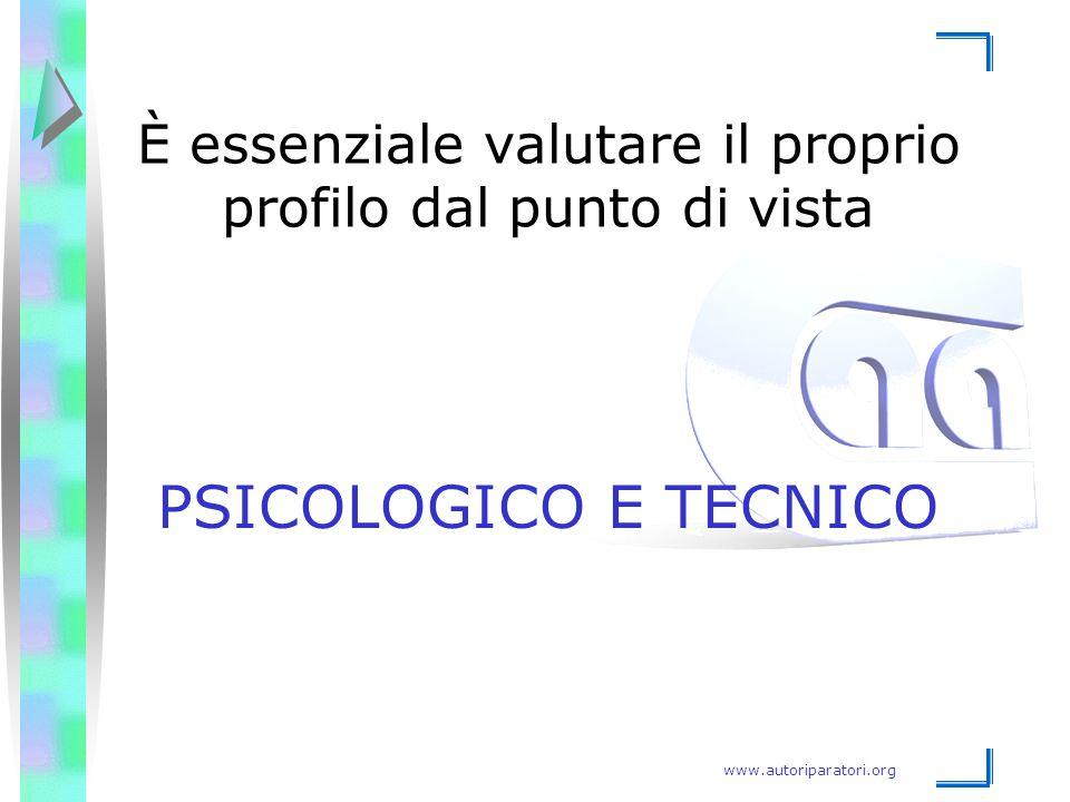 www.autoriparatori.org È essenziale valutare il proprio profilo dal punto di vista PSICOLOGICO E TECNICO
