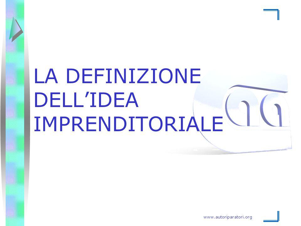 www.autoriparatori.org LA DEFINIZIONE DELL'IDEA IMPRENDITORIALE