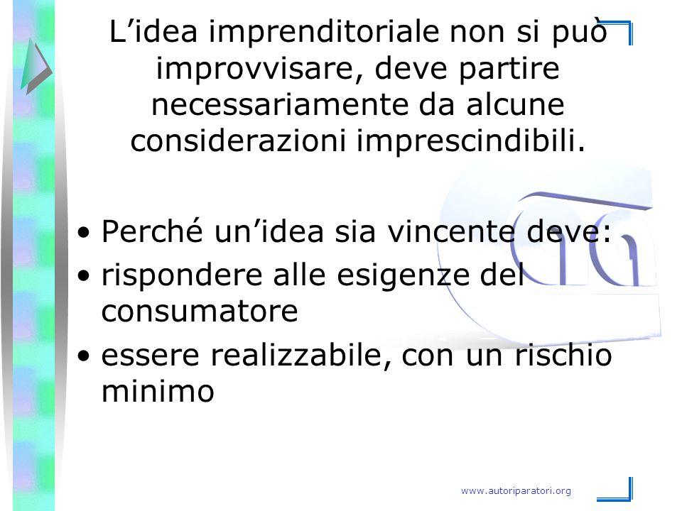 www.autoriparatori.org L'idea imprenditoriale non si può improvvisare, deve partire necessariamente da alcune considerazioni imprescindibili. Perché u