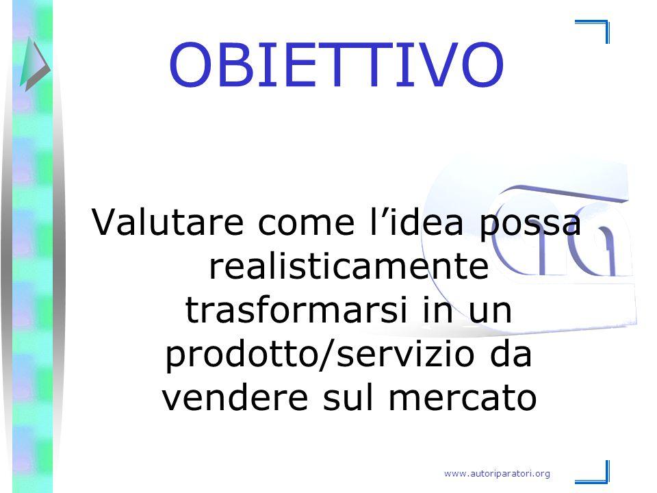 www.autoriparatori.org OBIETTIVO Valutare come l'idea possa realisticamente trasformarsi in un prodotto/servizio da vendere sul mercato