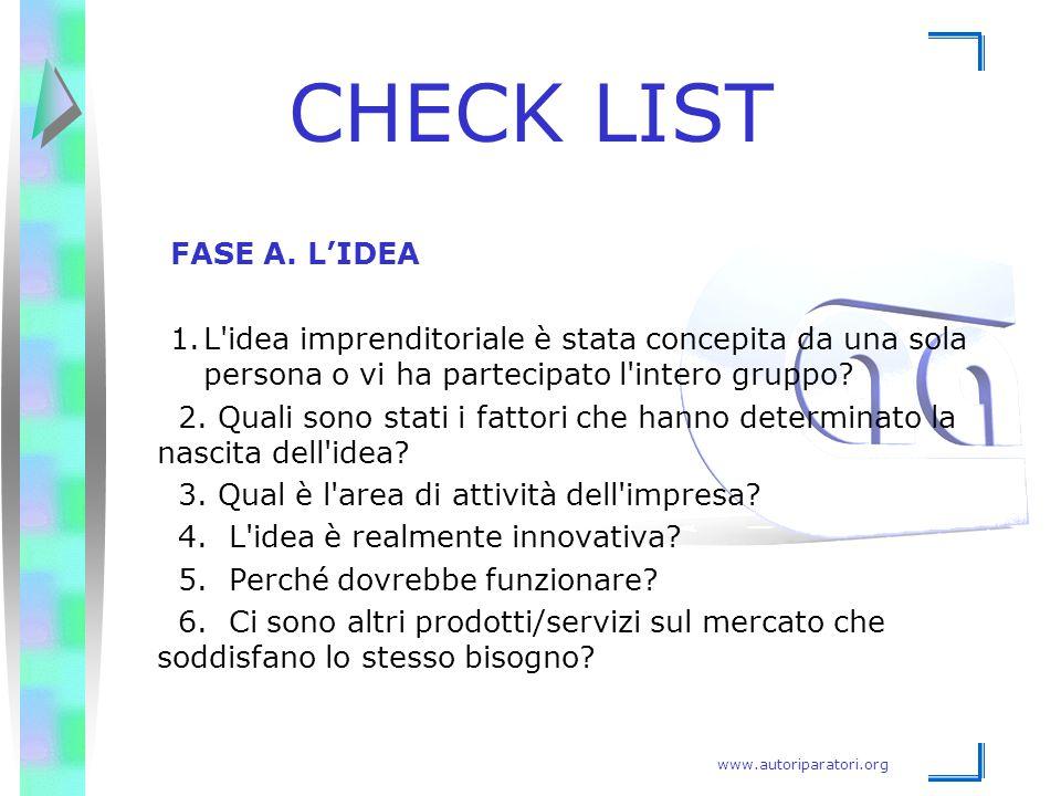 www.autoriparatori.org CHECK LIST FASE A. L'IDEA 1.L'idea imprenditoriale è stata concepita da una sola persona o vi ha partecipato l'intero gruppo? 2