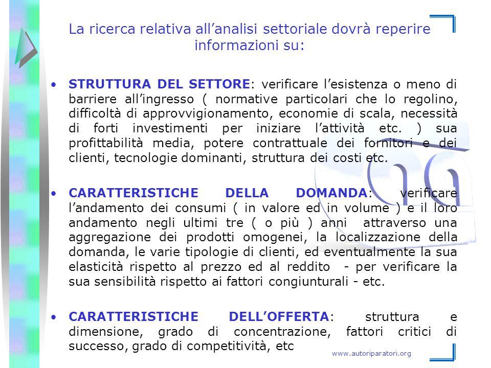 www.autoriparatori.org La ricerca relativa all'analisi settoriale dovrà reperire informazioni su: STRUTTURA DEL SETTORE: verificare l'esistenza o meno