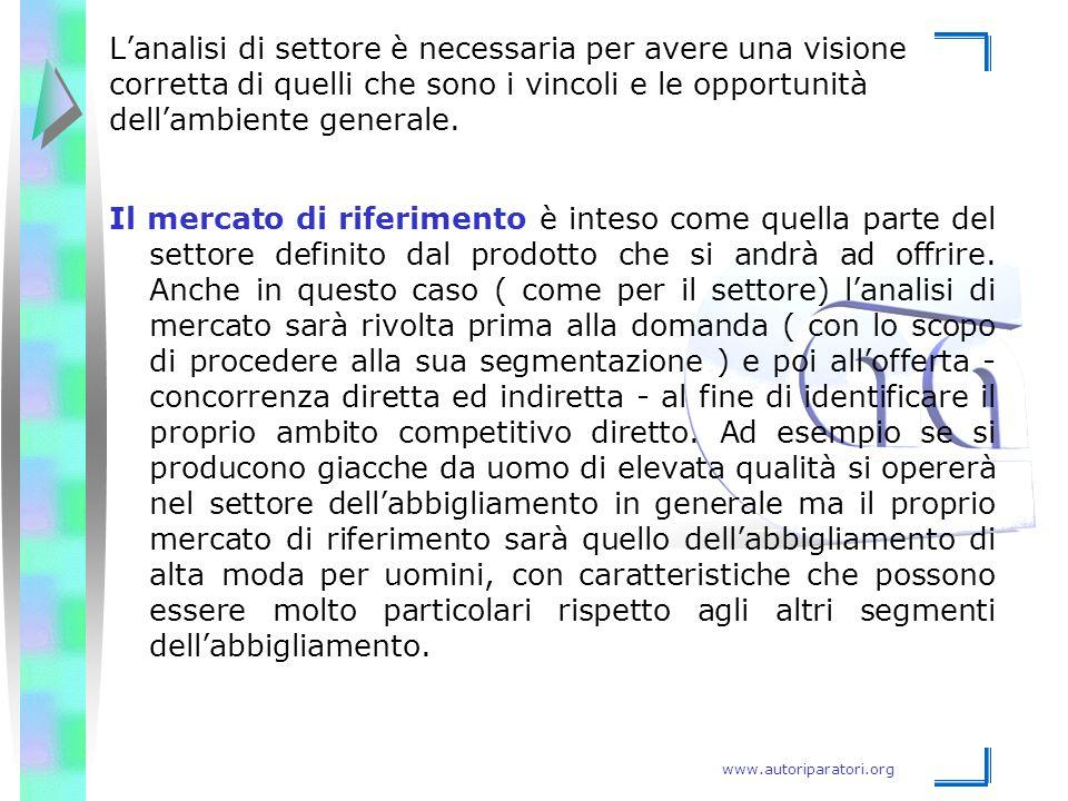www.autoriparatori.org Il mercato di riferimento è inteso come quella parte del settore definito dal prodotto che si andrà ad offrire. Anche in questo