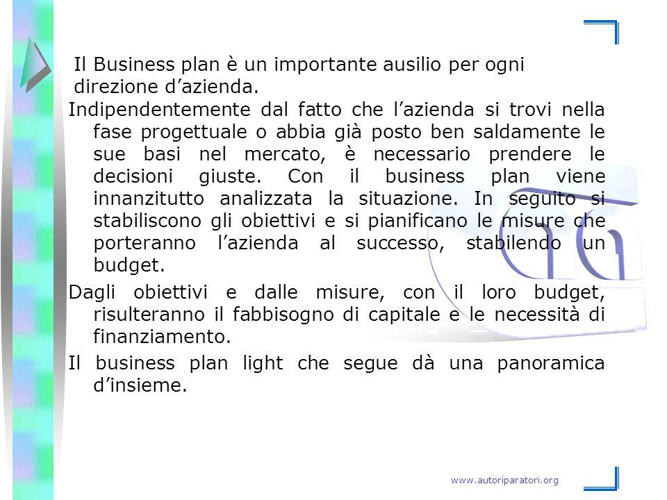 www.autoriparatori.org Il Business plan è un importante ausilio per ogni direzione d'azienda. Indipendentemente dal fatto che l'azienda si trovi nella