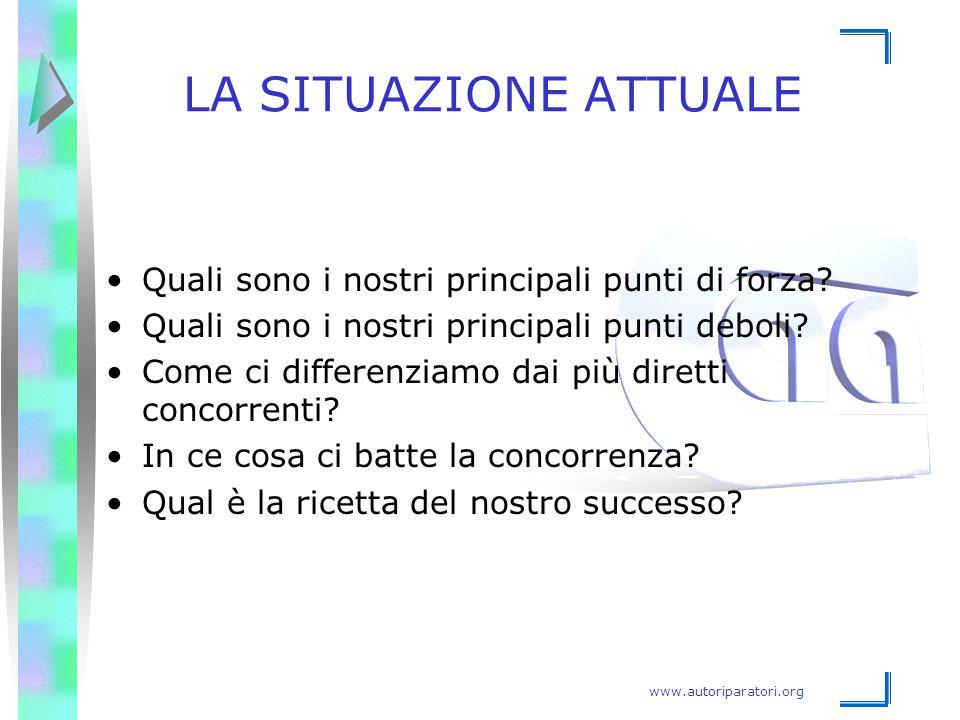 www.autoriparatori.org LA SITUAZIONE ATTUALE Quali sono i nostri principali punti di forza? Quali sono i nostri principali punti deboli? Come ci diffe