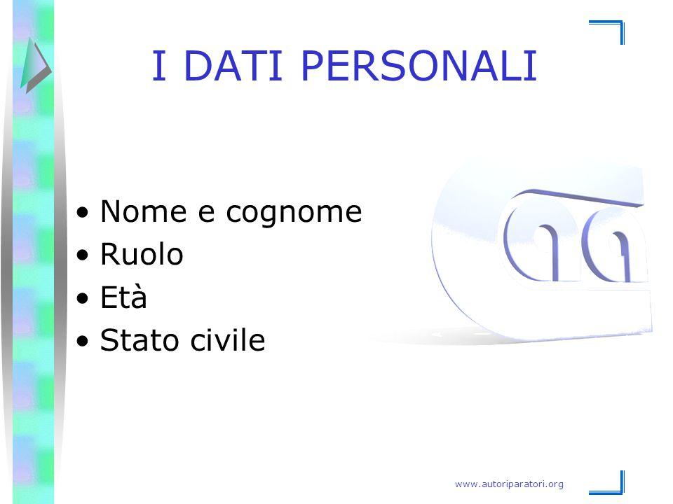 www.autoriparatori.org I DATI PERSONALI Nome e cognome Ruolo Età Stato civile
