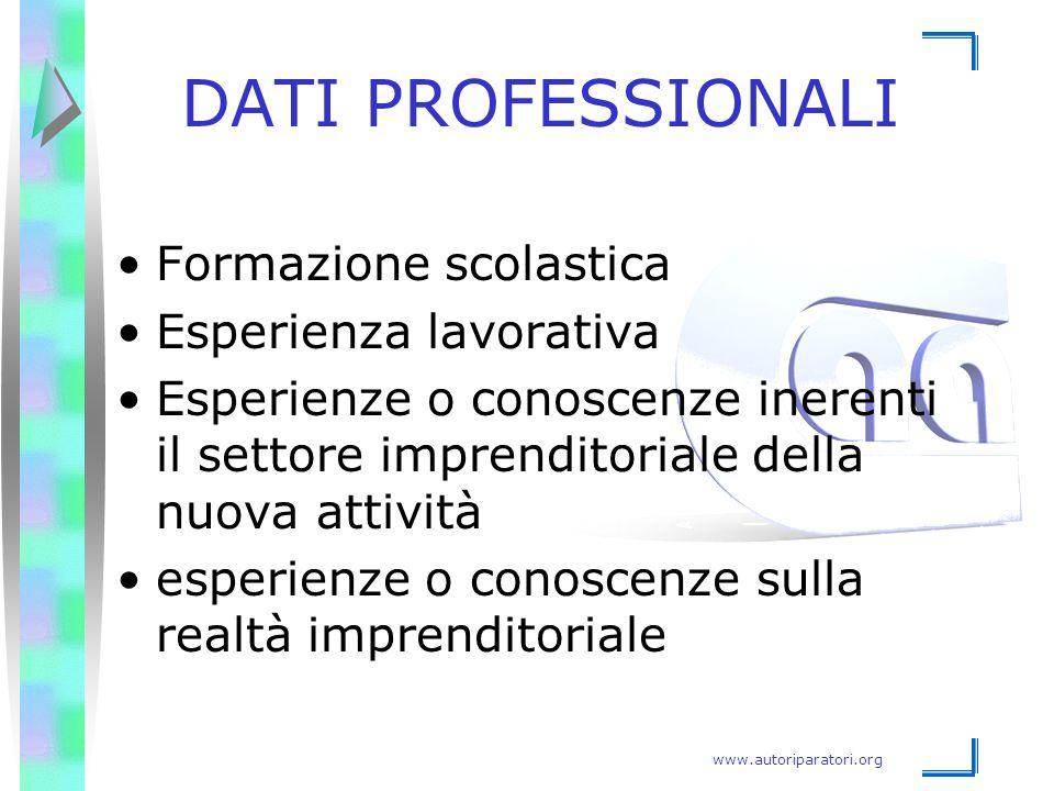 www.autoriparatori.org DATI PROFESSIONALI Formazione scolastica Esperienza lavorativa Esperienze o conoscenze inerenti il settore imprenditoriale dell