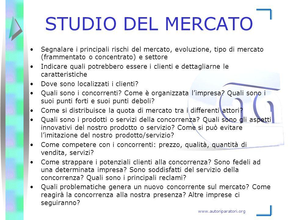 www.autoriparatori.org STUDIO DEL MERCATO Segnalare i principali rischi del mercato, evoluzione, tipo di mercato (frammentato o concentrato) e settore