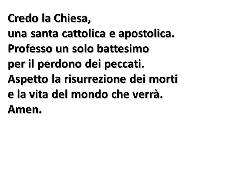 Credo la Chiesa, una santa cattolica e apostolica.