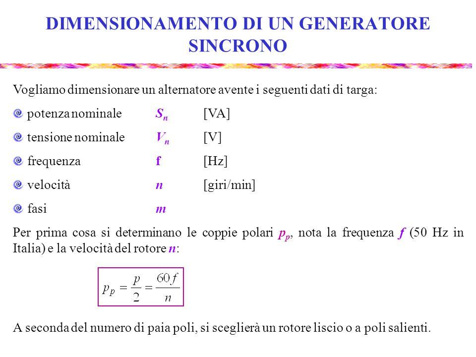 DIMENSIONAMENTO DI UN GENERATORE SINCRONO Vogliamo dimensionare un alternatore avente i seguenti dati di targa: potenza nominaleS n [VA] tensione nominaleV n [V] frequenzaf[Hz] velocitàn[giri/min] fasim Per prima cosa si determinano le coppie polari p p, nota la frequenza f (50 Hz in Italia) e la velocità del rotore n: A seconda del numero di paia poli, si sceglierà un rotore liscio o a poli salienti.