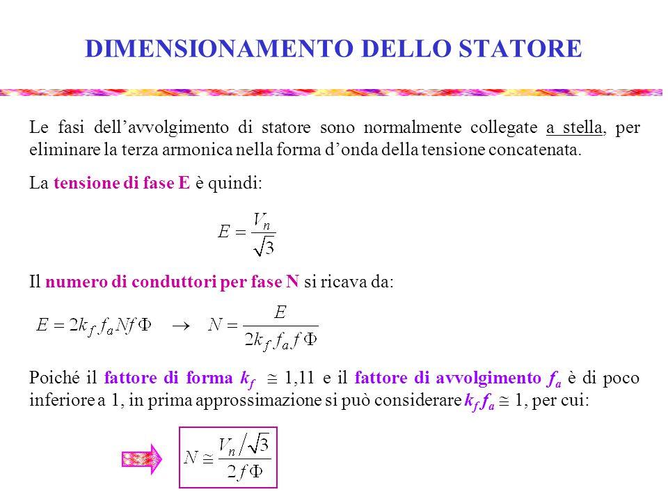DIMENSIONAMENTO DELLO STATORE Le fasi dell'avvolgimento di statore sono normalmente collegate a stella, per eliminare la terza armonica nella forma d'