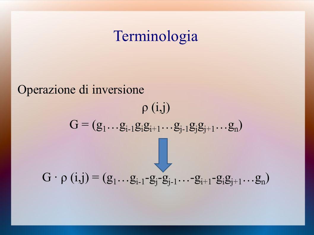 Operazione di inversione ρ (i,j) G = (g 1 …g i-1 g i g i+1 …g j-1 g j g j+1 …g n ) G ∙ ρ (i,j) = (g 1 …g i-1 -g j -g j-1 …-g i+1 -g i g j+1 …g n ) Terminologia