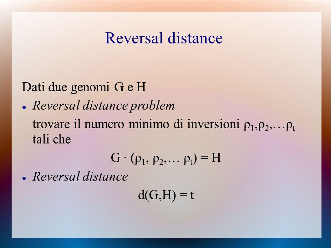 Dati due genomi G e H Reversal distance problem trovare il numero minimo di inversioni ρ 1,ρ 2,…ρ t tali che G ∙ (ρ 1, ρ 2,… ρ t ) = H Reversal distance d(G,H) = t Reversal distance