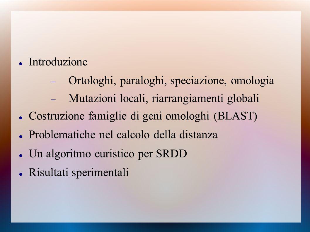 Introduzione  Ortologhi, paraloghi, speciazione, omologia  Mutazioni locali, riarrangiamenti globali Costruzione famiglie di geni omologhi (BLAST) Problematiche nel calcolo della distanza Un algoritmo euristico per SRDD Risultati sperimentali
