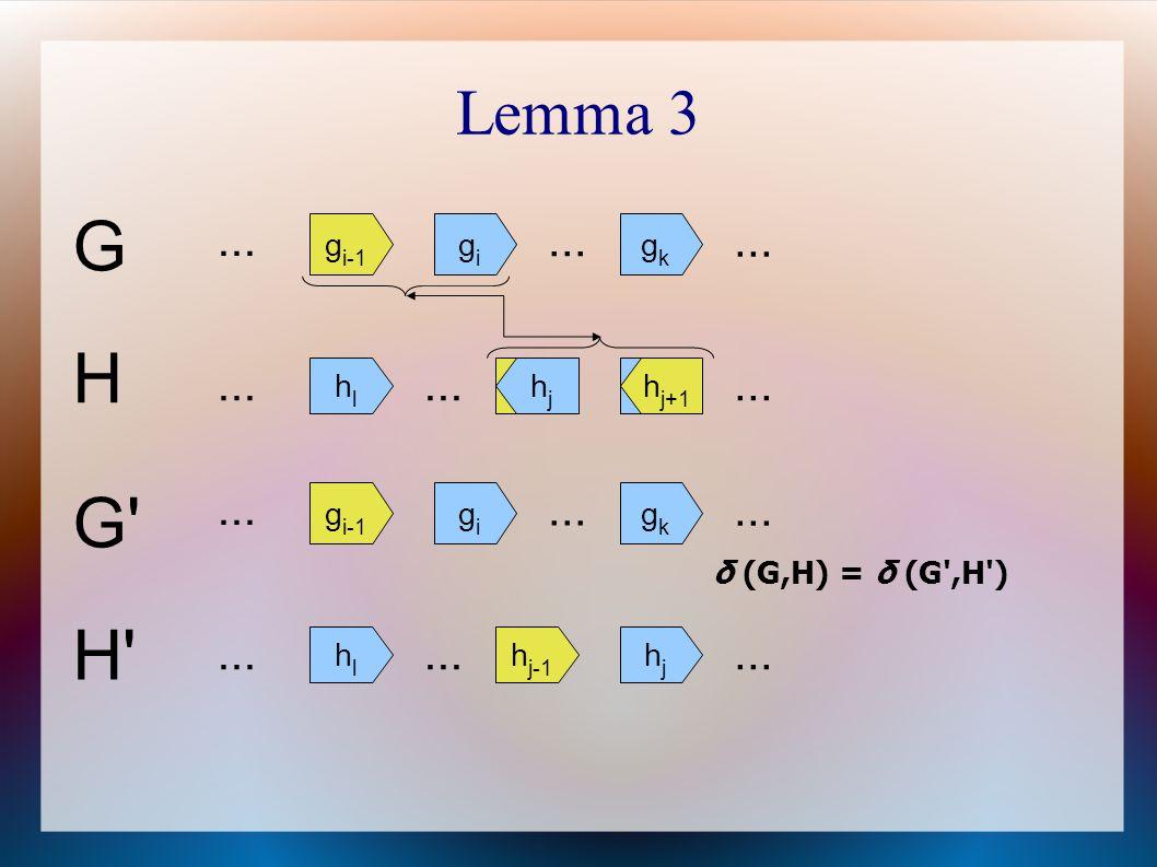 Lemma 3 G g i-1 gigi... gkgk H h j-1 hjhj... hlhl h j+1 hjhj G' H' δ (G,H) = δ (G',H') g i-1 gigi... h j-1 hjhj... hlhl gkgk