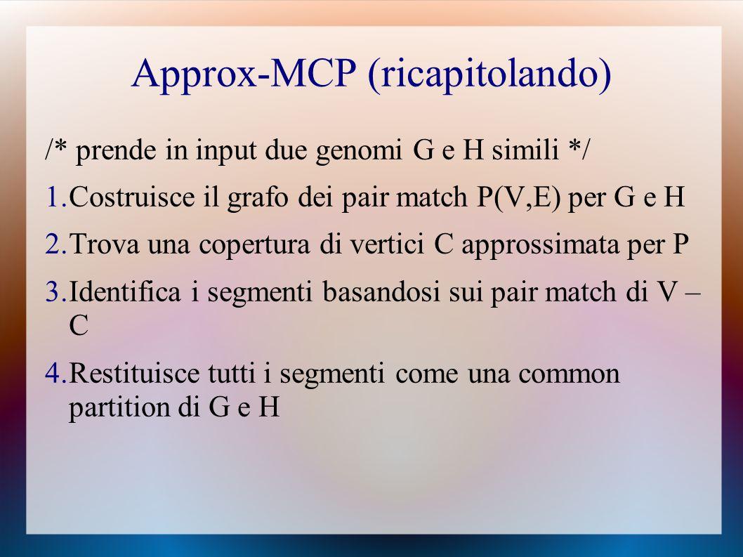 Approx-MCP (ricapitolando) /* prende in input due genomi G e H simili */ 1.Costruisce il grafo dei pair match P(V,E) per G e H 2.Trova una copertura di vertici C approssimata per P 3.Identifica i segmenti basandosi sui pair match di V – C 4.Restituisce tutti i segmenti come una common partition di G e H