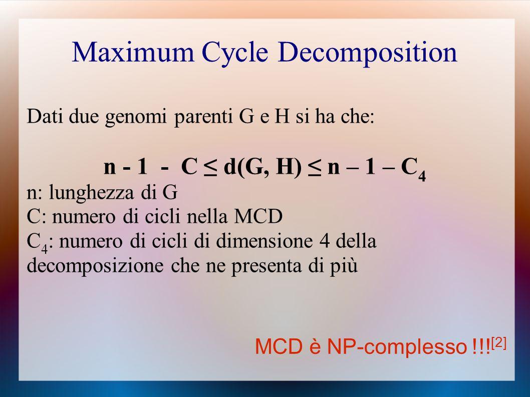 Maximum Cycle Decomposition Dati due genomi parenti G e H si ha che: n - 1 - C ≤ d(G, H) ≤ n – 1 – C 4 n: lunghezza di G C: numero di cicli nella MCD C 4 : numero di cicli di dimensione 4 della decomposizione che ne presenta di più MCD è NP-complesso !!.