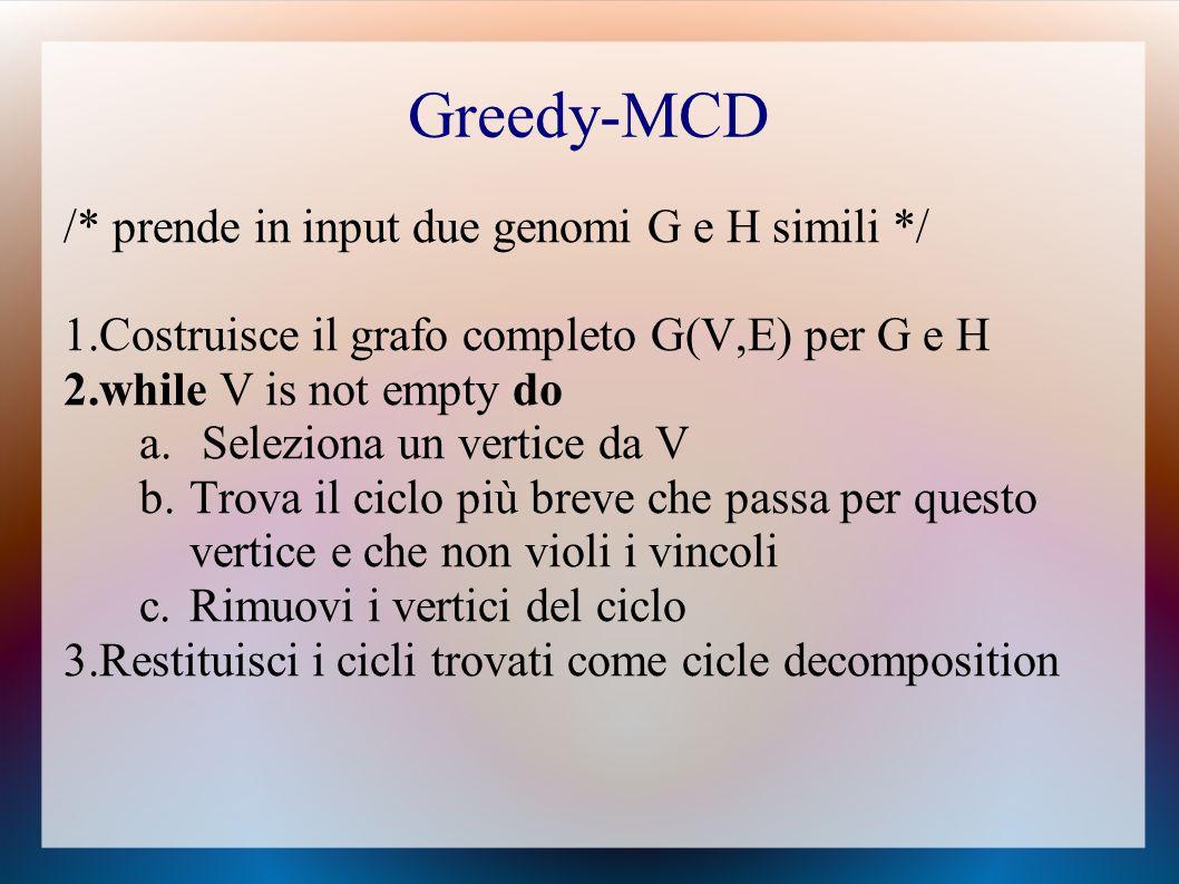 Greedy-MCD /* prende in input due genomi G e H simili */ 1.Costruisce il grafo completo G(V,E) per G e H 2.while V is not empty do a.
