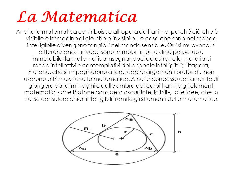 Anche la matematica contribuisce all'opera dell'animo, perché ciò che è visibile è immagine di ciò che è invisibile. Le cose che sono nel mondo intell
