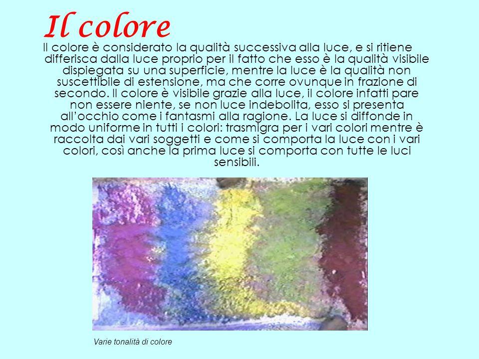 Il colore Il colore è considerato la qualità successiva alla luce, e si ritiene differisca dalla luce proprio per il fatto che esso è la qualità visib
