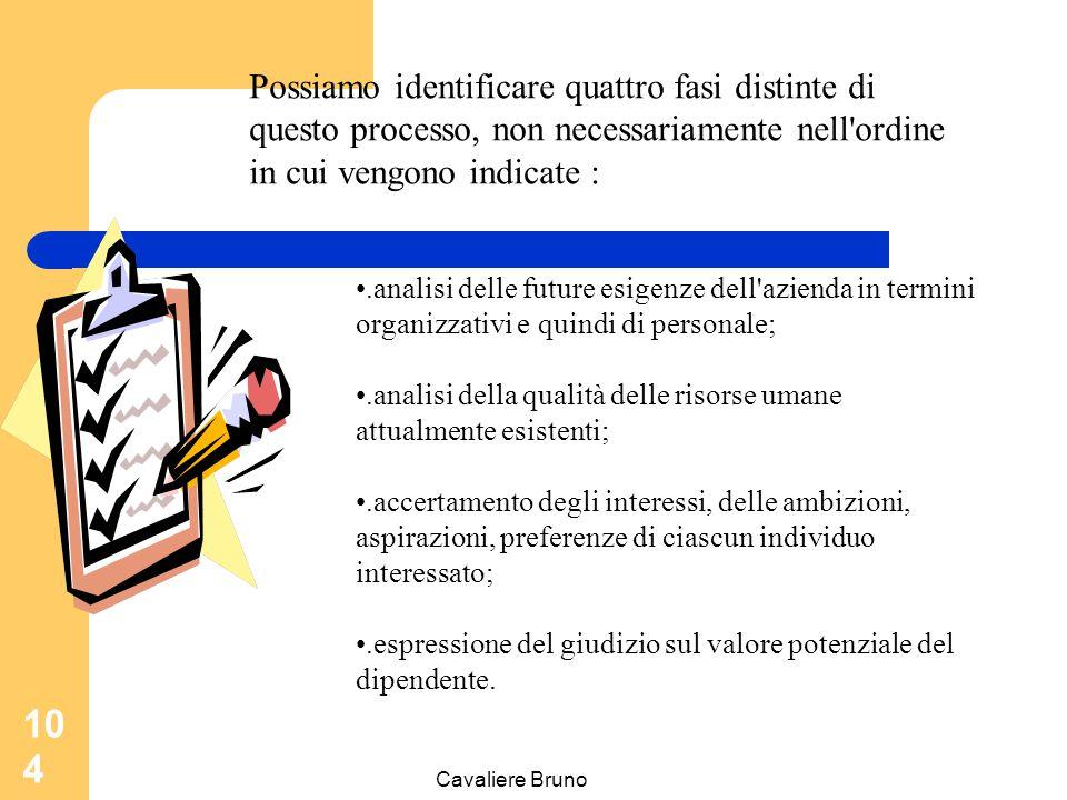 Cavaliere Bruno 103 La valutazione del potenziale non deve consentire di valutare se l'individuo ha un potenziale per la promozione quell'individuo ha