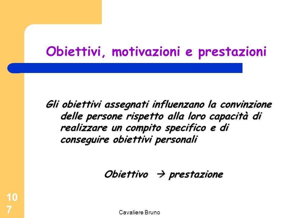 Cavaliere Bruno 106 Obiettivi e motivazioni Processo per determinare specifici livelli di prestazione che le persone dovrebbero raggiungere