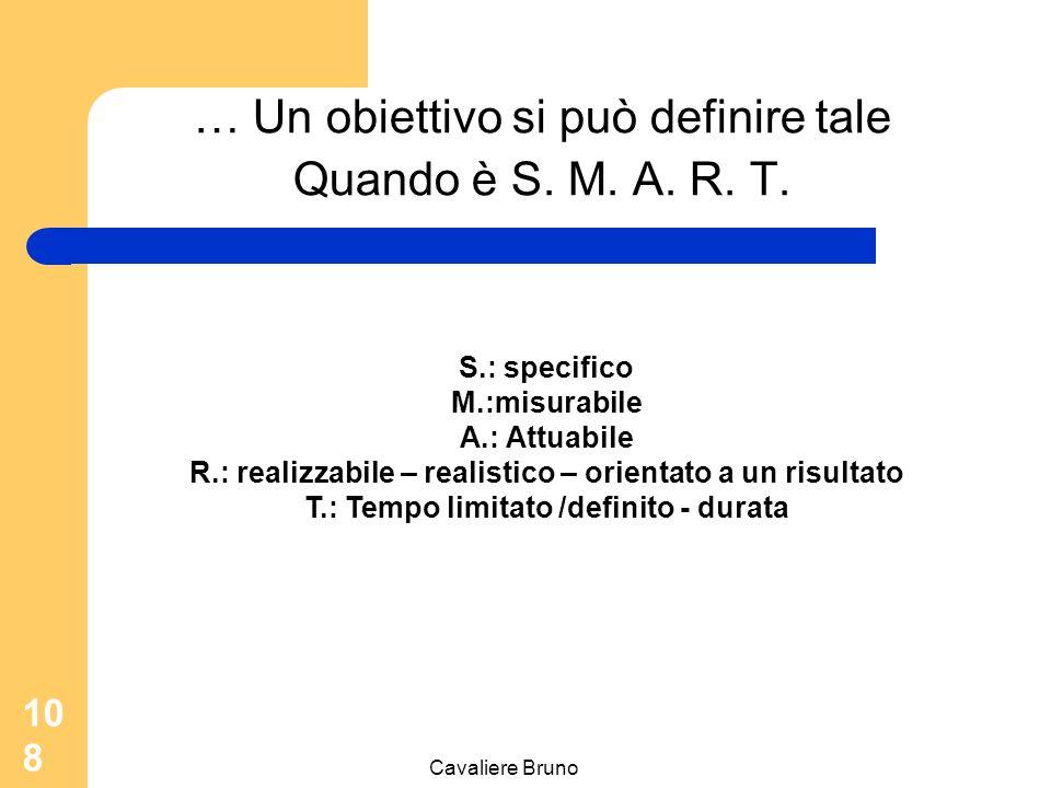 Cavaliere Bruno 107 Obiettivi, motivazioni e prestazioni Gli obiettivi assegnati influenzano la convinzione delle persone rispetto alla loro capacità