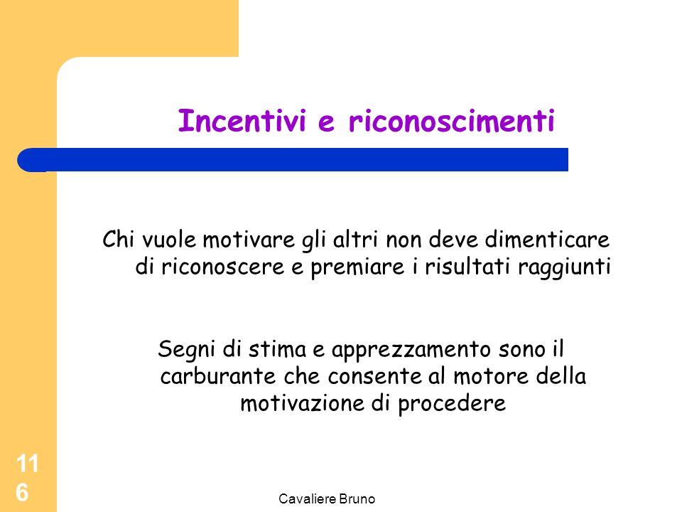 Cavaliere Bruno 115 Accrescere la motivazione Agire sull'aspettativa -rivedendo le proprie attese -alzando il livello di sfida Agire sul valore -Cerca