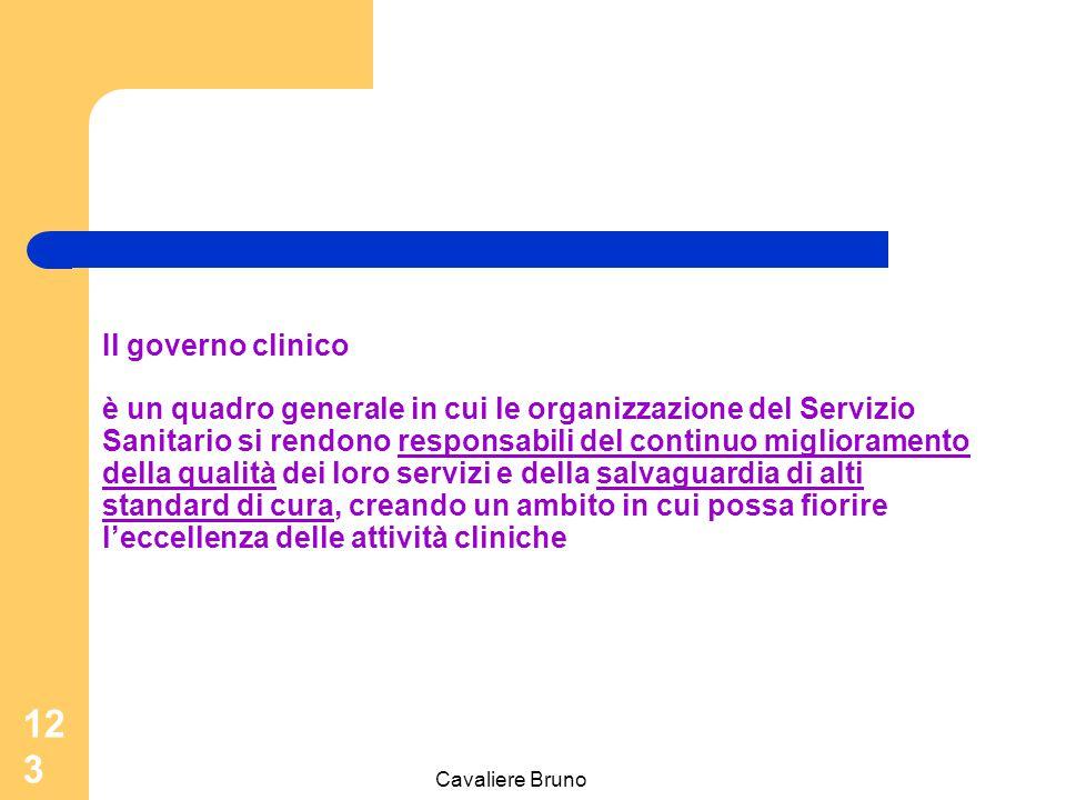 Cavaliere Bruno 122 Il Governo clinico può essere definito l'insieme di strumenti con i quali l'organizzazione assicura l'erogazione di assistenza sanitaria di alta qualità, responsabilizzando i professionisti sanitari sulla definizione, il mantenimento e il monitoraggio di livelli ottimali di assistenza.
