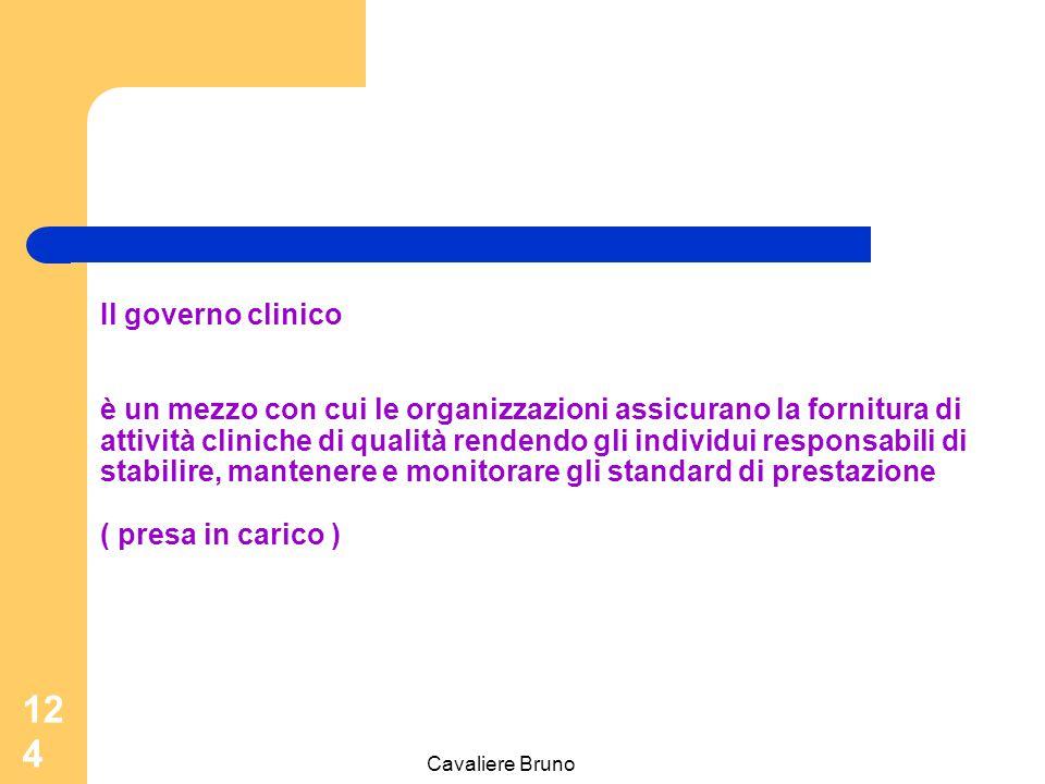 Cavaliere Bruno 123 Il governo clinico è un quadro generale in cui le organizzazione del Servizio Sanitario si rendono responsabili del continuo miglioramento della qualità dei loro servizi e della salvaguardia di alti standard di cura, creando un ambito in cui possa fiorire l'eccellenza delle attività cliniche