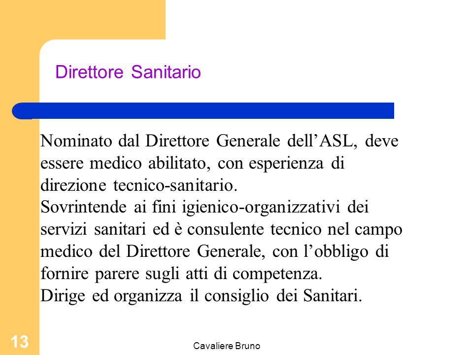 Cavaliere Bruno 12 Direttore Generale Direttore Generale: sono proprie le attività di controllo e governo, delegabili quelle di gestione. Competenze: