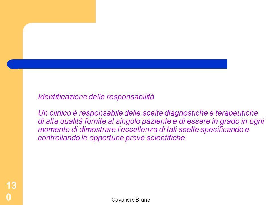 Cavaliere Bruno 129 Complessita dell'assistenza sanitaria La natura complessa dell'attività clinica e dell'assistenza sanitaria ad essa collegata impone una alta autonomia professionale Il fondamento della responsabilità consiste nella identificazione e nell'approvazione del ruolo assunto da parte di ciascun professionista