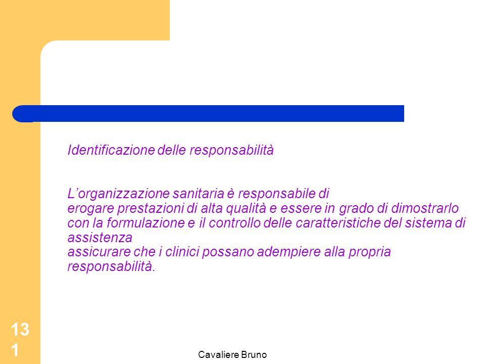Cavaliere Bruno 130 Identificazione delle responsabilità Un clinico è responsabile delle scelte diagnostiche e terapeutiche di alta qualità fornite al