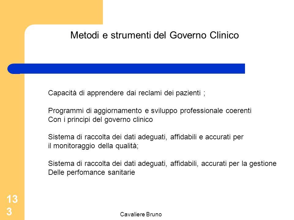 Cavaliere Bruno 132 Metodi e strumenti del Governo Clinico Processi di miglioramento della qualità come l'Audit clinico ( efficacia concreta delle pre