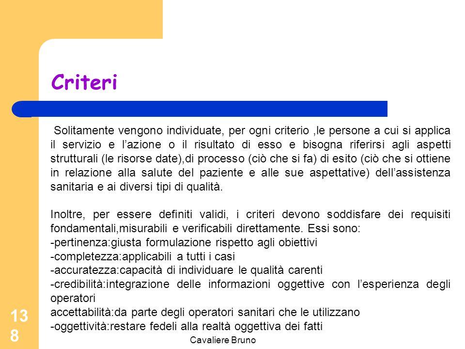 Cavaliere Bruno 137 Criteri Per criterio si intende l'elemento tramite cui si esprime ciò che deve essere fatto o non fatto. A ciò è associabile il co