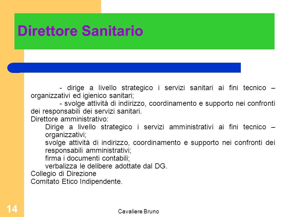 Cavaliere Bruno 13 Direttore Sanitario Nominato dal Direttore Generale dell'ASL, deve essere medico abilitato, con esperienza di direzione tecnico-sanitario.