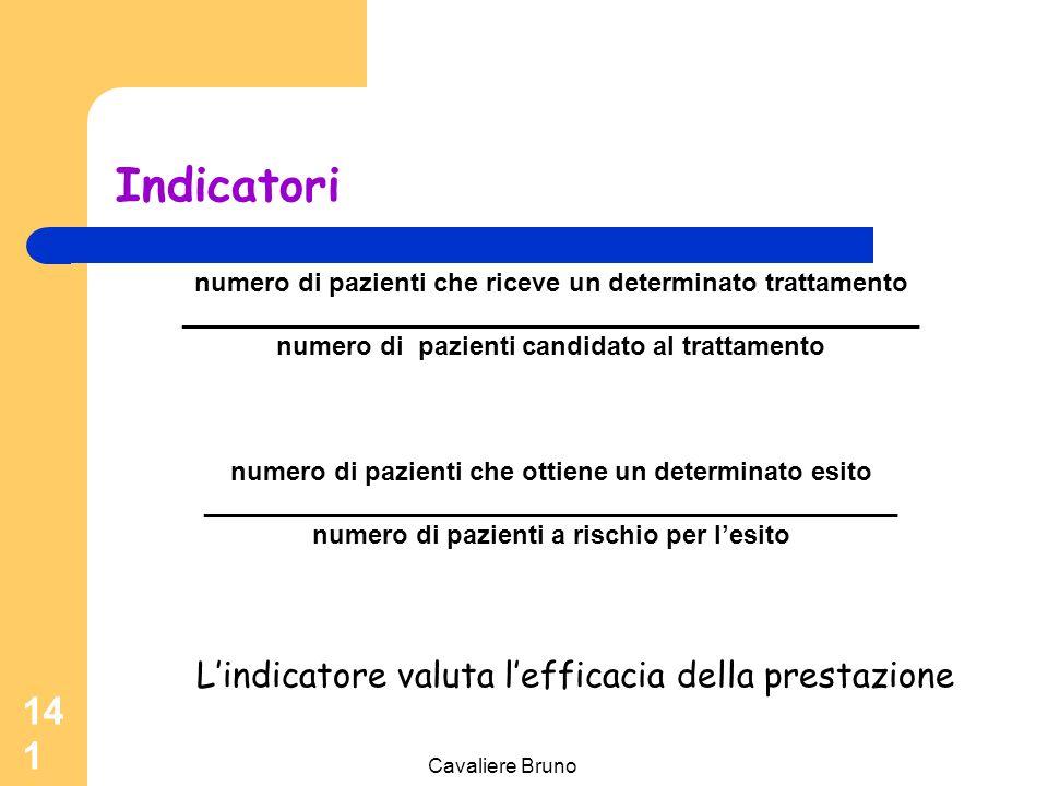 Cavaliere Bruno 140 Indicatori L'indicatore di qualità rappresenta la misura quantitativa utilizzata per verificare la presenza di problemi o per confermare la qualità degli aspetti importanti della pratica clinica e non clinica.
