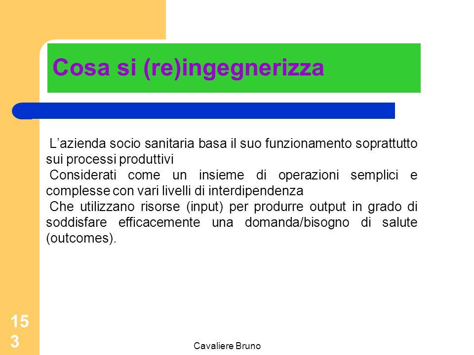 Cavaliere Bruno 152 Perché si (re)ingegnerizza Inadeguatezza degli strumenti di governo e gestione tradizionali: budget, sistemi di contabilità analit
