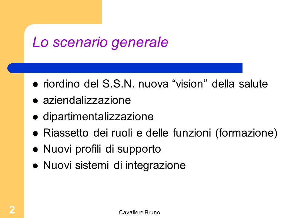 Cavaliere Bruno 1 Organizzazione del lavoro in sanità: ruoli, responsabilità e sistemi di integrazione Relatore Bruno Cavaliere