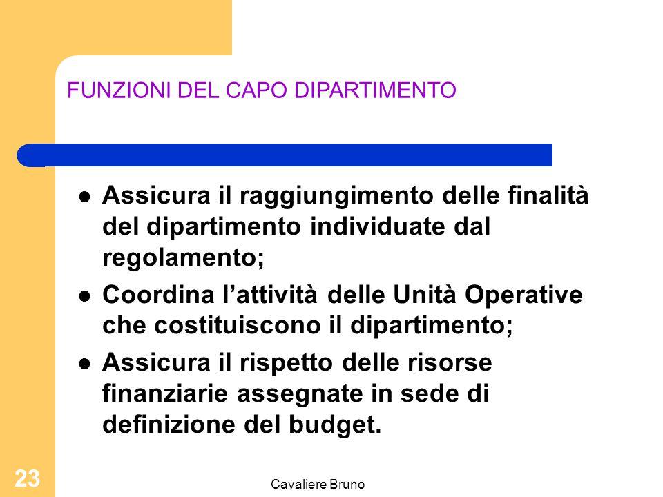 Cavaliere Bruno 22 ORGANISMI COSTITUTIVI Capo dipartimento (Identificato in un direttore di struttura complessa nominato dal Direttore generale su pro